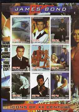Turkmenistan 2001 Icons of the 20th Century - James Bond imperf sheetlet containing set of 9 values unmounted mint