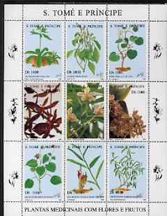 St Thomas & Prince Islands 1996 Medicinal Plants perf sheetlet containing 9 values unmounted mint