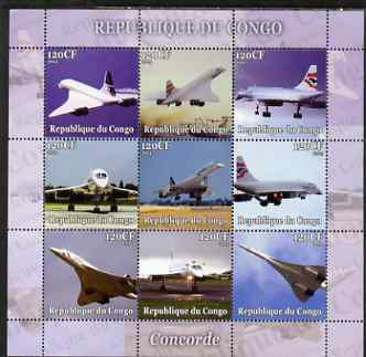 Congo 2004 Concorde perf sheetlet containing set of 9 values unmounted mint. Note this item is privately produced and is offered purely on its thematic appeal