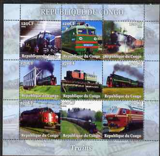 Congo 2004 Trains perf sheetlet containing set of 9 values unmounted mint. Note this item is privately produced and is offered purely on its thematic appeal