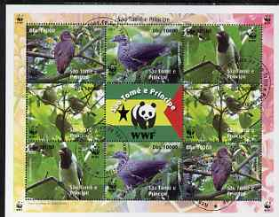 St Thomas & Prince Islands 2005 WWF - Local Bird Species perf sheetlet containing 2 sets of 4 plus label fine cto used