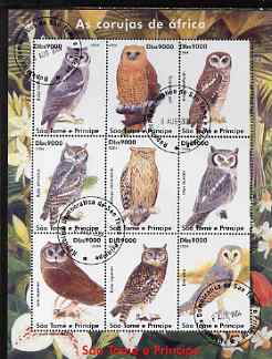 St Thomas & Prince Islands 2004 Owls perf sheetlet containing set of 9 values fine cto used
