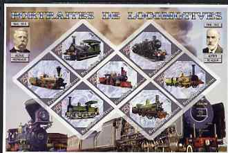 Benin 2006 Railways (early) imperf sheetlet containing 7 values diamond shaped unmounted mint