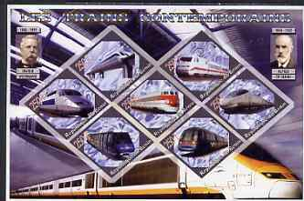 Benin 2006 Railways (modern) imperf sheetlet containing 7 values diamond shaped unmounted mint