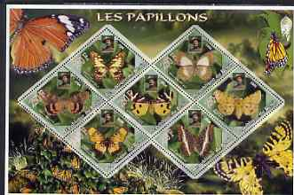 Benin 2006 Butterflies perf sheetlet containing 7 diamond shaped values (each with portrait of Baden Powell) unmounted mint