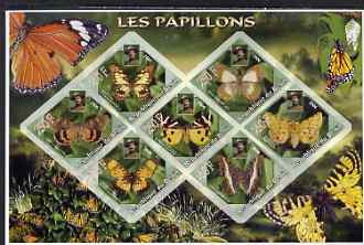Benin 2006 Butterflies imperf sheetlet containing 7 diamond shaped values (each with portrait of Baden Powell) unmounted mint