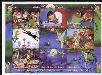 Benin 2008 Beijing Olympics - Disney's Snow White, Peter Pan etc perf sheetlet containing 8 values plus label fine cto used