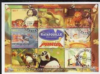 Benin 2008 Beijing Olympics - Disney's Ratatouille & Kung Fu Panda perf sheetlet containing 8 values plus label fine cto used