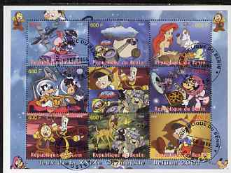 Benin 2008 Beijing Olympics - Disney's Bambi, Pinocchio etc perf sheetlet containing 8 values plus label fine cto used