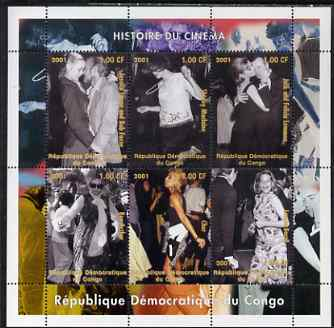 Congo 2001 History of the Cinema (Actors & Actresses) perf sheetlet containing set of 6 values unmounted mint
