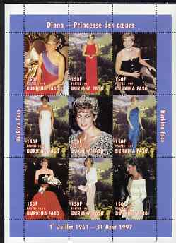 Burkina Faso 1997 Princess Diana #2 perf sheetlet containing 9 values (various portraits) unmounted mint