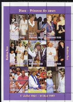 Burkina Faso 1997 Princess Diana #3 perf sheetlet containing 9 values (various portraits) unmounted mint