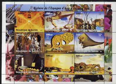 Guinea - Conakry 1998 Paintings by Salvador Dali perf sheetlet containing 9 values unmounted mint. Note this item is privately produced and is offered purely on its thematic appeal