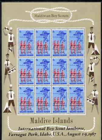 Maldive Islands 1968 First Anniversary of Scouts Jamboree opt on 3L value in complete sheetlet of 12 unmounted mint SG 285