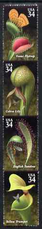 United States 2001 Carnivorour Plants strip of 4 self adhesive unmounted mint SG 4000a