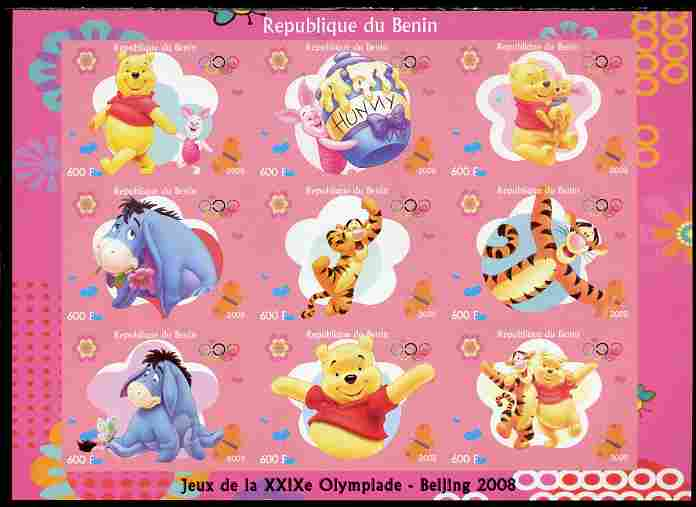 Benin 2009 Beijing Olympics #1 - Winnie the Pooh imperf sheetlet containing 9 values unmounted mint. Note this item is privately produced and is offered purely on its thematic appeal