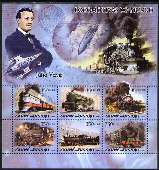 Guinea - Bissau 2005 Steam Trains & Jules Verne perf sheetlet containing 6 values unmounted mint Mi 3016-21