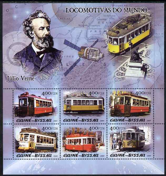 Guinea - Bissau 2005 Trams & Jules Verne perf sheetlet containing 6 values unmounted mint Mi 3022-27