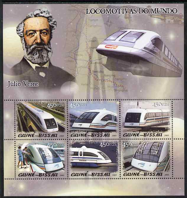 Guinea - Bissau 2005 Maglev Trains & Jules Verne perf sheetlet containing 6 values unmounted mint Mi 3028-33