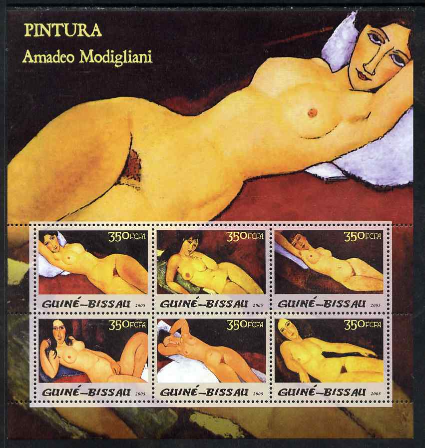 Guinea - Bissau 2005 Paintings by Modigliani perf sheetlet containing 6 values unmounted mint Mi 3037-42
