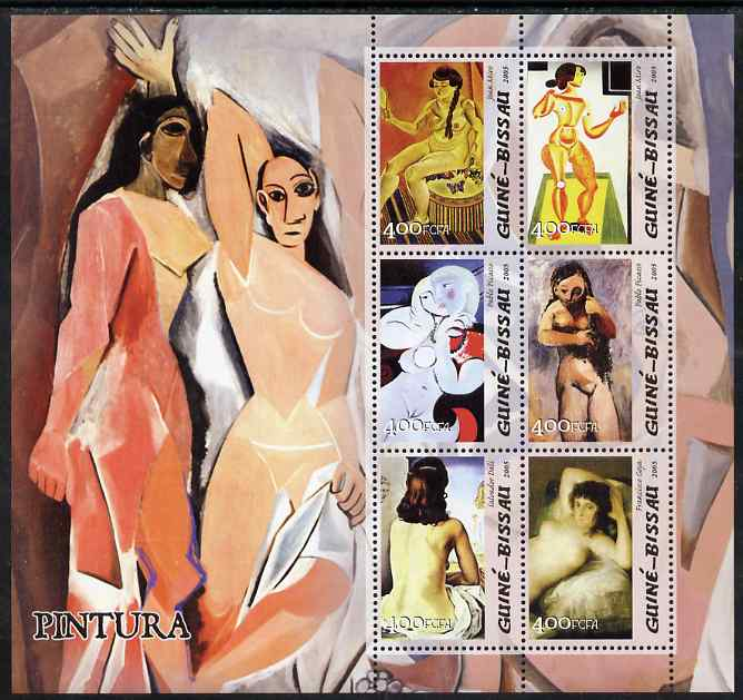 Guinea - Bissau 2005 Paintings by Spanish Artists perf sheetlet containing 6 values unmounted mint Mi 3043-48