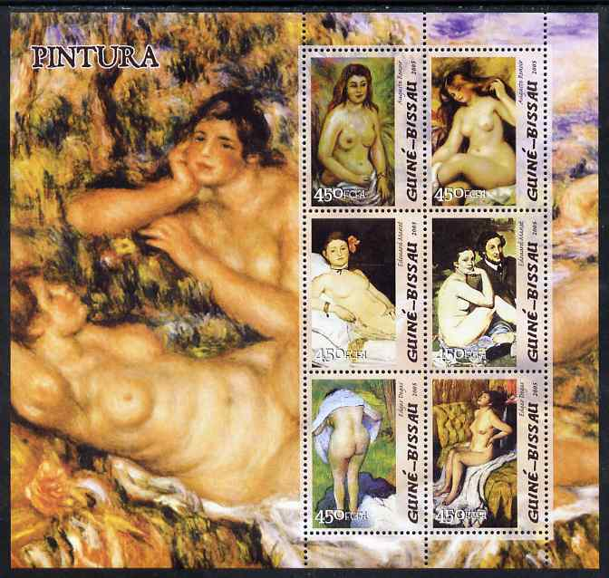 Guinea - Bissau 2005 Paintings by French Impressionists perf sheetlet containing 6 values unmounted mint Mi 3049-54