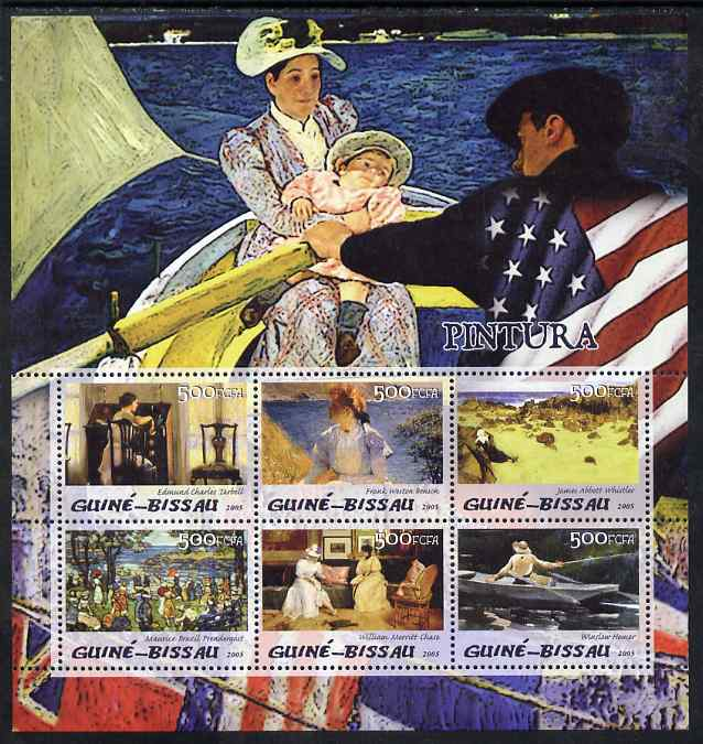 Guinea - Bissau 2005 Paintings by American Impressionists perf sheetlet containing 6 values unmounted mint Mi 3055-60