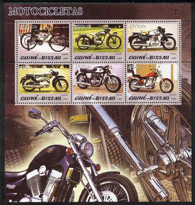 Guinea - Bissau 2005 Motorcycles perf sheetlet containing 6 values unmounted mint Mi 3079-84