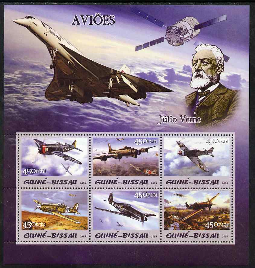 Guinea - Bissau 2005 Aircraft & Jules Verne perf sheetlet containing 6 values unmounted mint Mi 3093-98