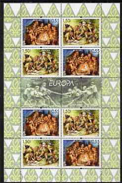 Bulgaria 2007 Europa - Centenary of Scouting perf sheetlet containing 4 x se-tenant pairs, unmounted mint as SG4622-23