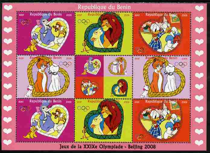 Benin 2009 Beijing Olympics #2 - Disney Characters perf sheetlet containing 8 values plus label unmounted mint