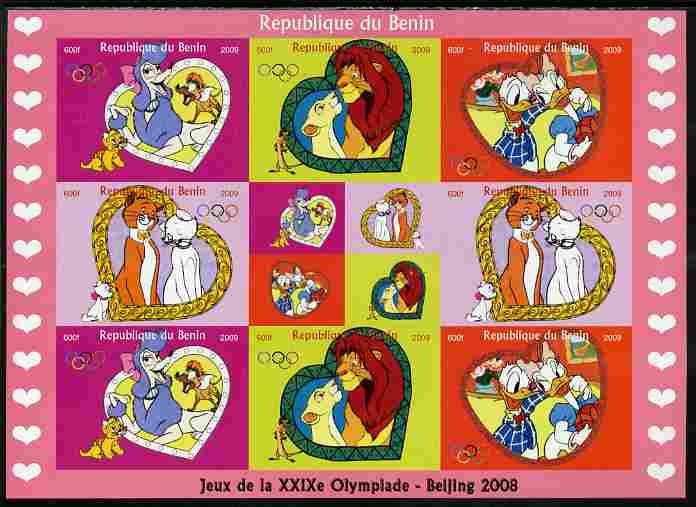 Benin 2009 Beijing Olympics #2 - Disney Characters imperf sheetlet containing 8 values plus label unmounted mint. Note this item is privately produced and is offered purely on its thematic appeal