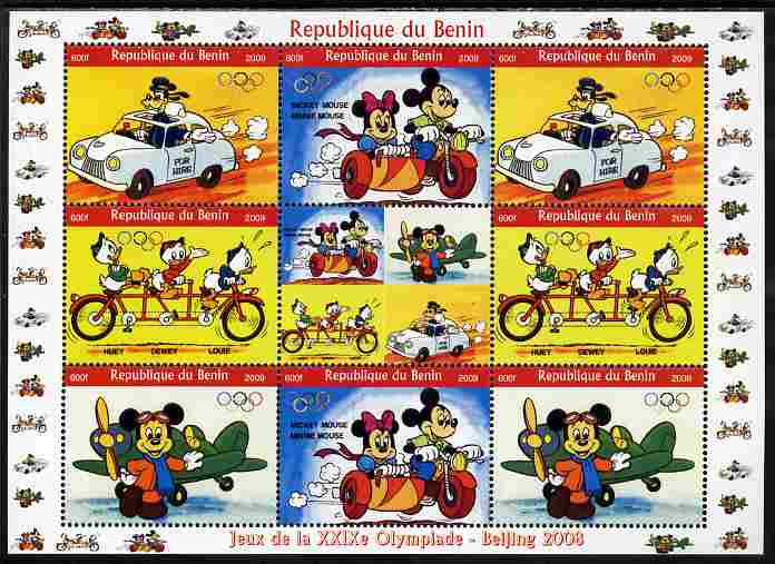 Benin 2009 Beijing Olympics #3 - Disney Characters (Transport) perf sheetlet containing 8 values plus label unmounted mint