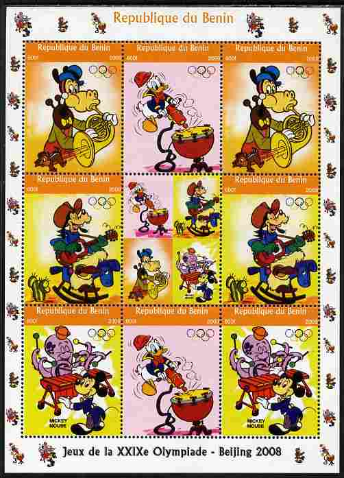 Benin 2009 Beijing Olympics #4 - Disney Characters (Music) perf sheetlet containing 8 values plus label unmounted mint