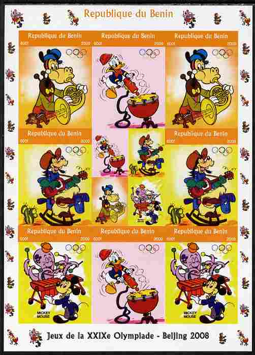 Benin 2009 Beijing Olympics #4 - Disney Characters (Music) imperf sheetlet containing 8 values plus label unmounted mint. Note this item is privately produced and is offe...