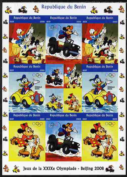 Benin 2009 Beijing Olympics #5 - Disney Characters (Mickey, Minnie & Donald) imperf sheetlet containing 8 values plus label unmounted mint