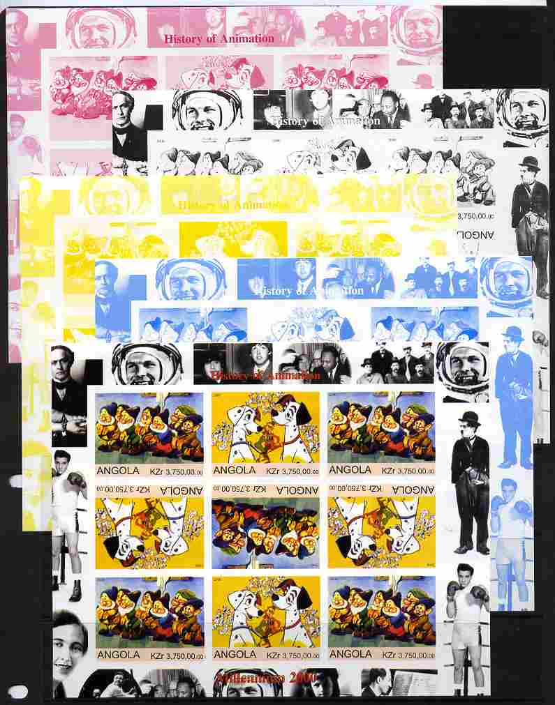 Angola 2000 Millennium 2000 - History of Animation #1 sheetlet containing 9 values in tete-beche format (Disney Characters with Elvis, Chaplin, Beatles, Gershwin, N Armst...