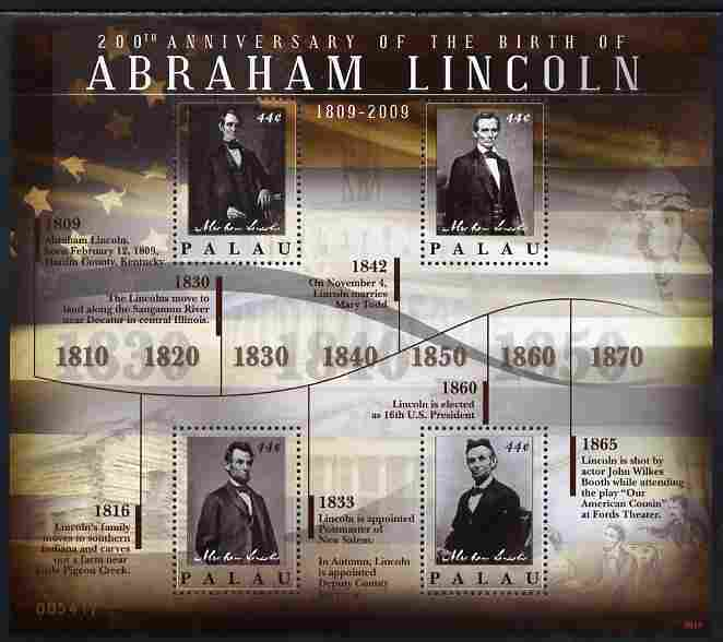 Palau 2010 200th Birth Anniversary of Abraham Lincoln perf sheetlet containing 4 values unmounted mint