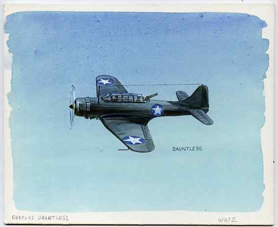 Eynhallow 1981 WW2 Aircraft (Dauntless) original artwork by R A Sherrington of the B L Kearley Studio, watercolour on board 180 x 150 mm plus issued perf sheetlet incorporating this image