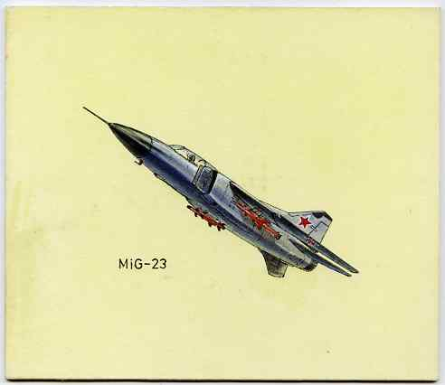 Bernera 1982 Aircraft #14 (MIG-23) original artwork by R A Sherrington of the B L Kearley Studio, watercolour on board 160 x 135 mm plus issued perf sheetlet incorporatin...