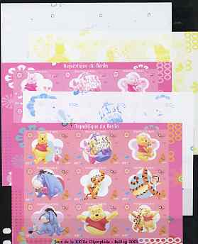 Benin 2009 Beijing Olympics #1 - Winnie the Pooh imperf sheetlet containing 9 values, the set of 5 progressive proofs comprising the 4 individual colours plus all 4-colou...