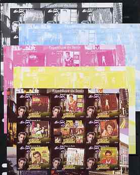 Benin 2009 Elvis Presley - Album Covers imperf sheetlet containing 9 values, the set of 5 progressive proofs comprising the 4 individual colours plus all 4-colour composite, unmounted mint