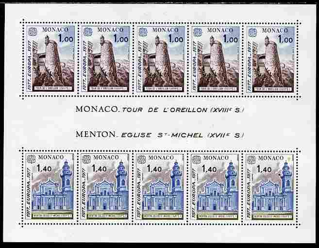 Monaco 1977 Europa - Views perf sheetlet containing five sets of two unmounted mint, SG MS 1304