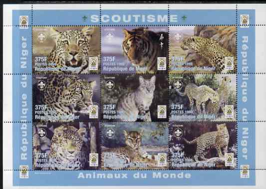 Niger Republic 1998 Animals of the World - Big Cats perf sheetlet containing 9 values (each with Scouts Logo) unmounted mint. Note this item is privately produced and is offered purely on its thematic appeal