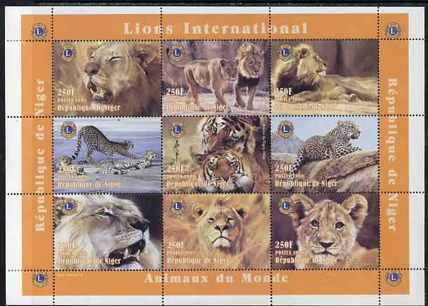 Niger Republic 1998 Animals of the World - Big Cats perf sheetlet containing 9 values (each with Lions Int Logo) unmounted mint. Note this item is privately produced and is offered purely on its thematic appeal