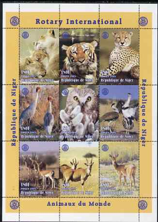 Niger Republic 1998 Animals of the World perf sheetlet containing 9 values (each with Rotary Logo) unmounted mint. Note this item is privately produced and is offered purely on its thematic appeal