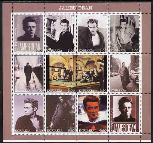 Koriakia Republic 2000 James Dean perf sheetlet containing 12 values unmounted mint
