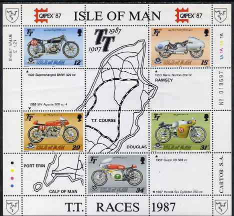 Isle of Man 1987 80th Anniversary of TT Motorcycle Racing m/sheet (with Capex 87 imprint) unmounted mint, SG MS 353