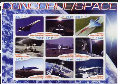 Congo 2002 Concorde & Space imperf sheetlet #01 containing set of 9 values unmounted mint. Note this item is privately produced and is offered purely on its thematic appeal