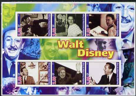 Congo 2002 Walt Disney imperf sheetlet containing set of 6 values unmounted mint. Note this item is privately produced and is offered purely on its thematic appeal